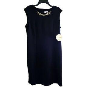 Black Dress Gold Chain Accent Office Shift Sheath